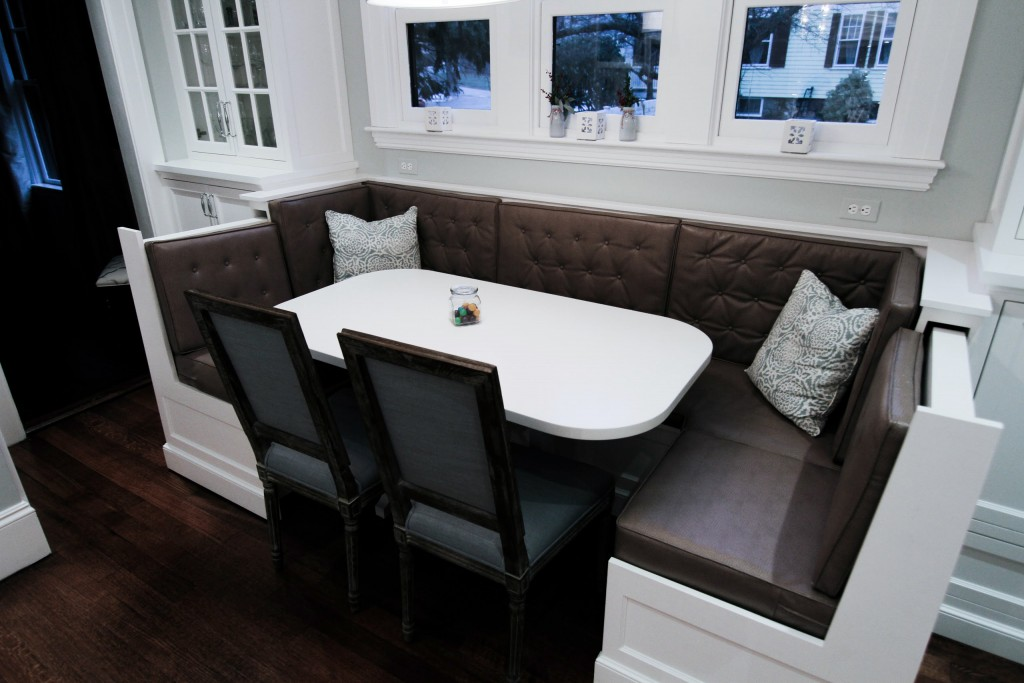 Remodeled eat-in kitchen banquette