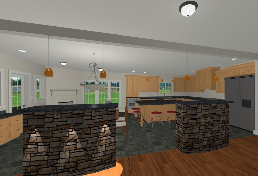 Whole house remodel rendering kitchen
